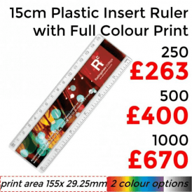 "15cm/6"" Plastic Insert Ruler With Full Colour Print"