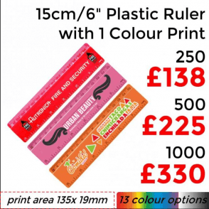 "15cm/6"" Solid Plastic Ruler With Single Colour Print"