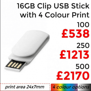 16GB Clip USB With 4 Colour Print