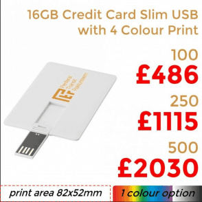 16GB Credit Card Slim USB With Full Colour Print