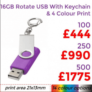16GB Rotate USB With Keychain & 4 Colour Print