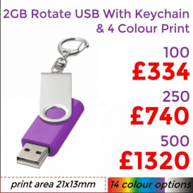 2GB Rotate USB With Keychain & 4 Colour Print