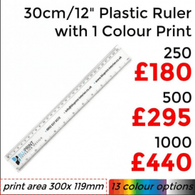 "30cm/12"" Solid Plastic Ruler With Single Colour Print"