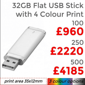 32GB Flat USB Stick With 4 Colour Print