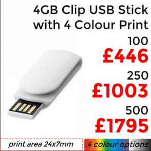 4GB Clip USB With 4 Colour Print