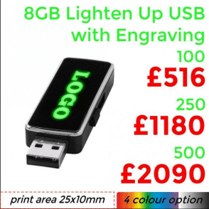 8GB Lighten Up USB With Engraving