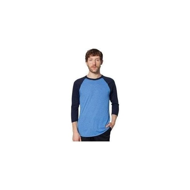 American Apparel Unisex poly/cotton 3/4 sleeve raglan shirt (BB453)