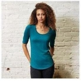 Anvil women's tri-blend deep scoop ½ sleeve tee