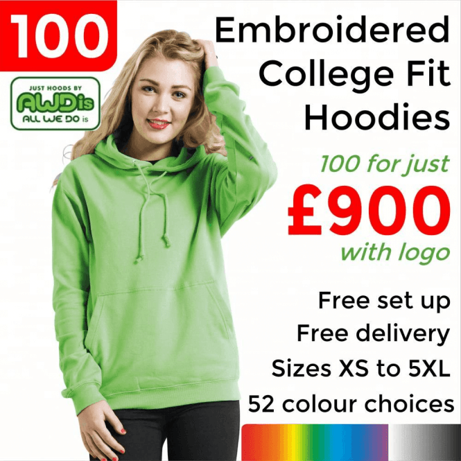 AWDis 100 x Embroidered College hoodie £900