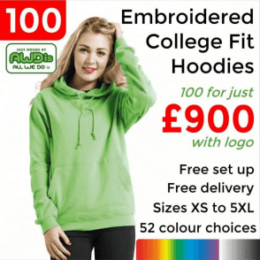 100 x Embroidered College hoodie £900
