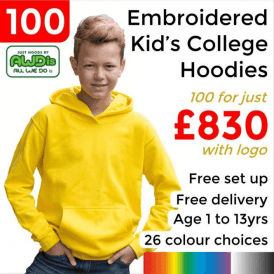 100 x Embroidered Kids hoodie £830