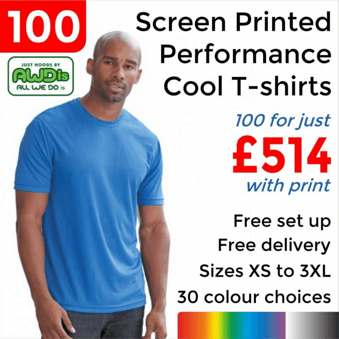 AWDis 100 x Screen Printed Cool T £514