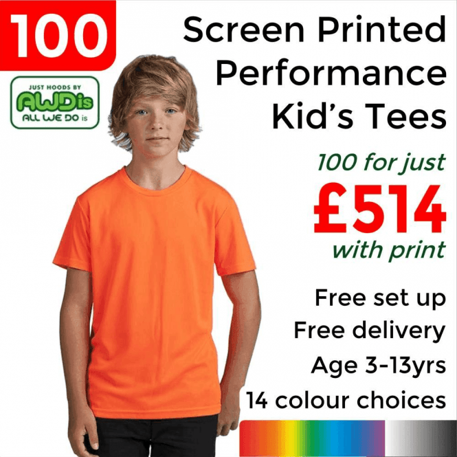 AWDis 100 x Screen Printed Kids cool T £514