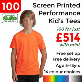 100 x Screen Printed Kids cool T £514