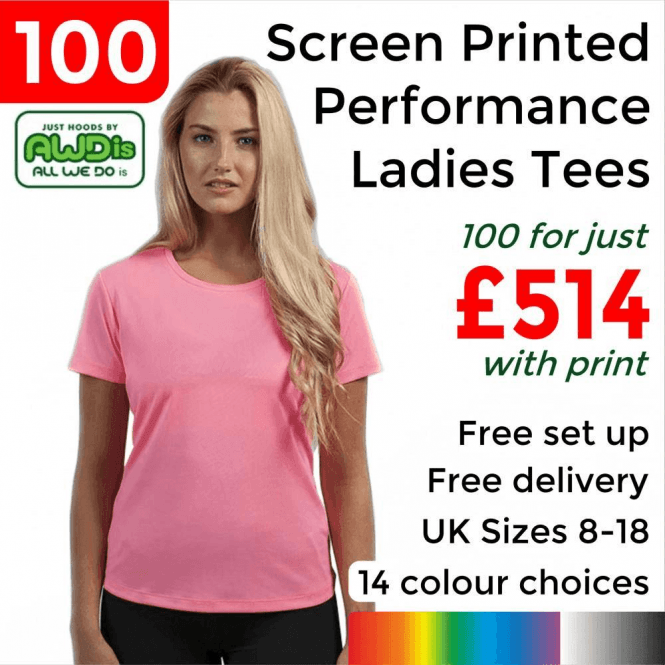 AWDis 100 x Screen Printed Women's cool T £514