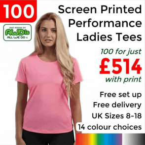 100 x Screen Printed Women's cool T £514