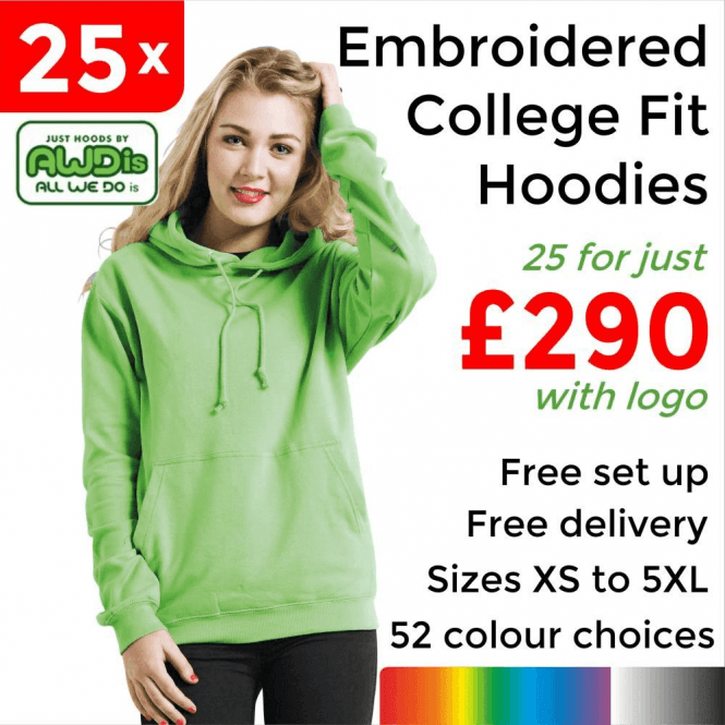 AWDis 25 x Embroidered College hoodie £290