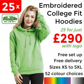 25 x Embroidered College hoodie £290