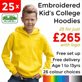 25 x Embroidered Kids hoodie £265