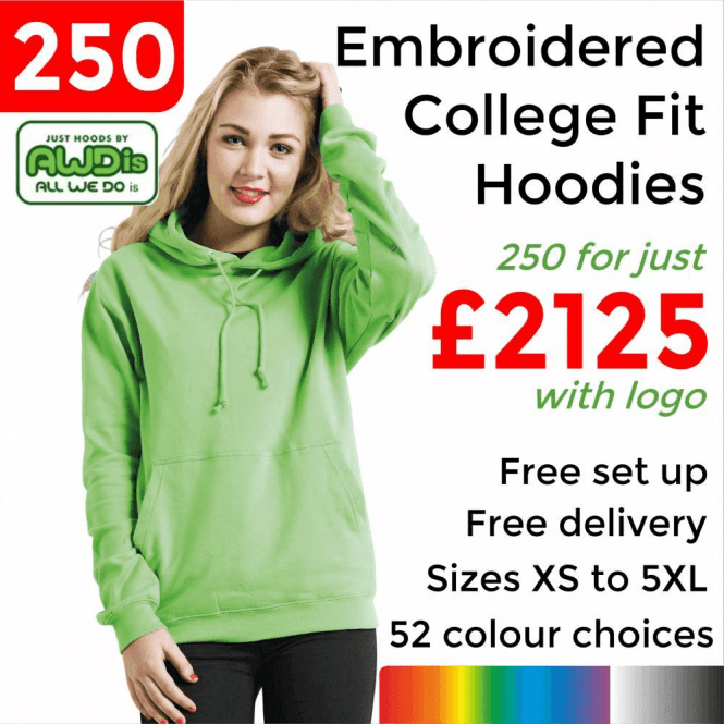 AWDis 250 x Embroidered College hoodie £2125