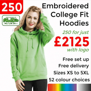 250 x Embroidered College hoodie £2125