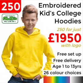 250 x Embroidered Kids hoodie £1950