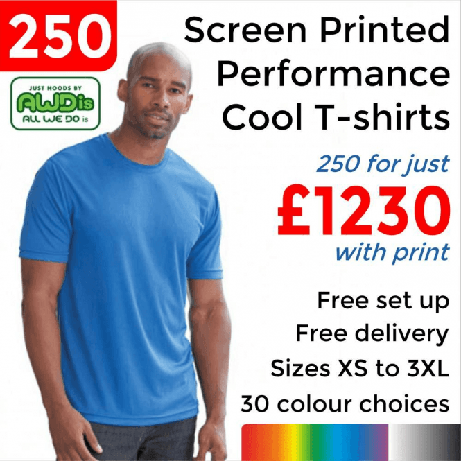 AWDis 250 x Screen Printed Cool T £1230