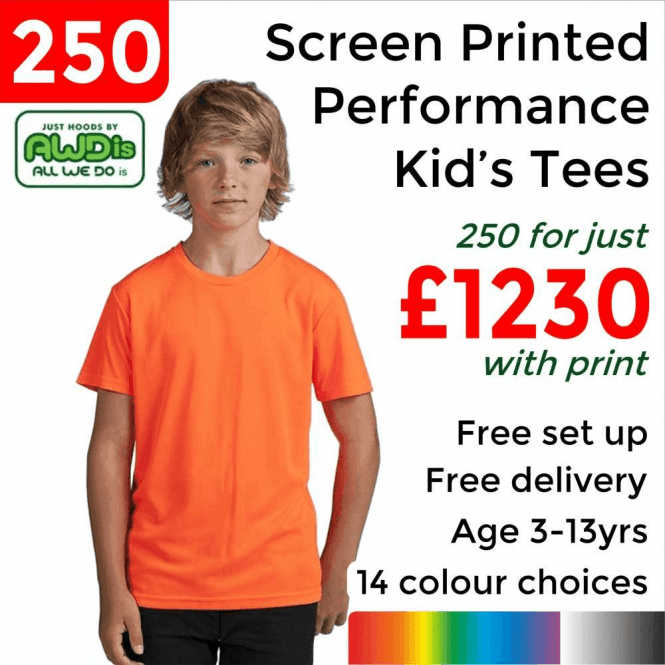 AWDis 250 x Screen Printed Kids cool T £1230
