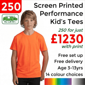 250 x Screen Printed Kids cool T £1230