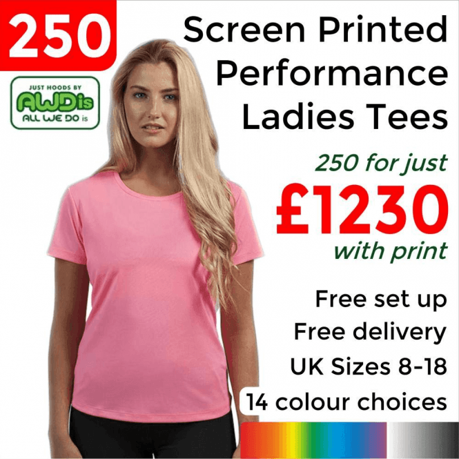 AWDis 250 x Screen Printed Women's cool T £1230
