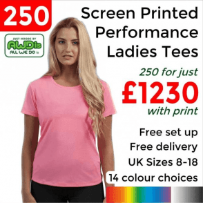 250 x Screen Printed Women's cool T £1230