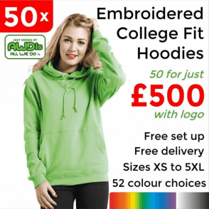 50 x Embroidered College hoodie £500