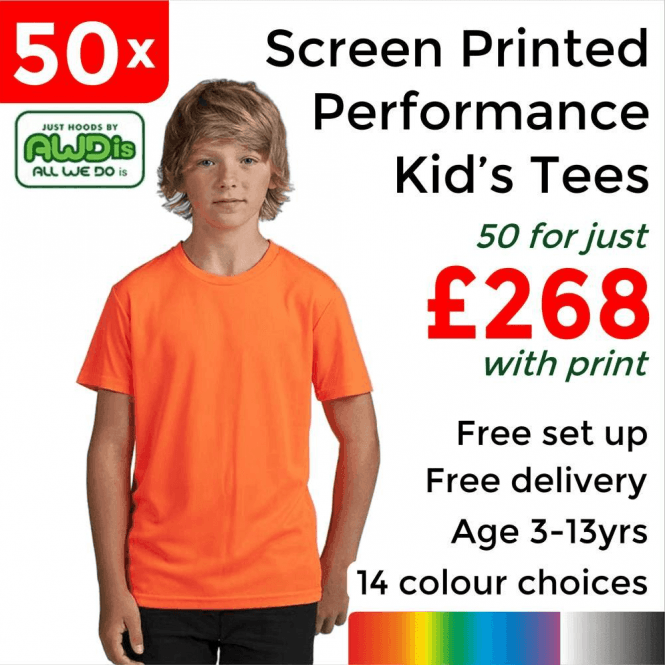 AWDis 50 x Screen Printed Kids cool T £268