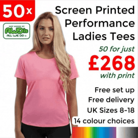 50 x Screen Printed Women's cool T £268