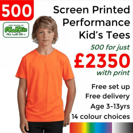 500 x Screen Printed Kids cool T £2350