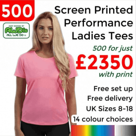 500 x Screen Printed Women's cool T £2350