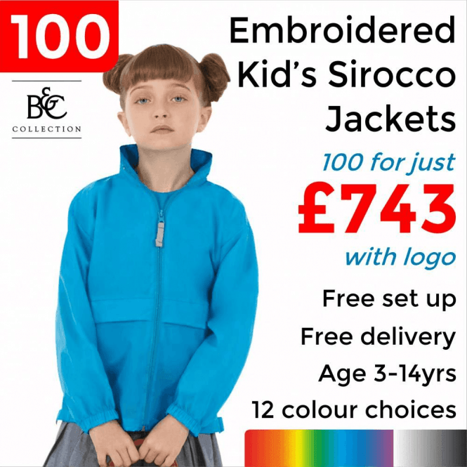 B&C Collection 100 x Embroidered Kid's Sirocco Jacket £743