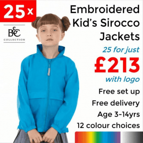 25 x Embroidered Kid's Sirocco Jacket £213