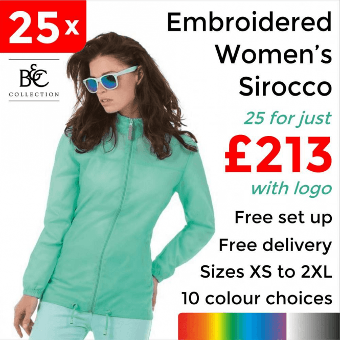 B&C Collection 25 x Embroidered Women's Sirocco Jacket £213