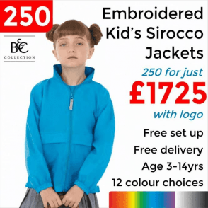 250 x Embroidered Kid's Sirocco Jacket £1725