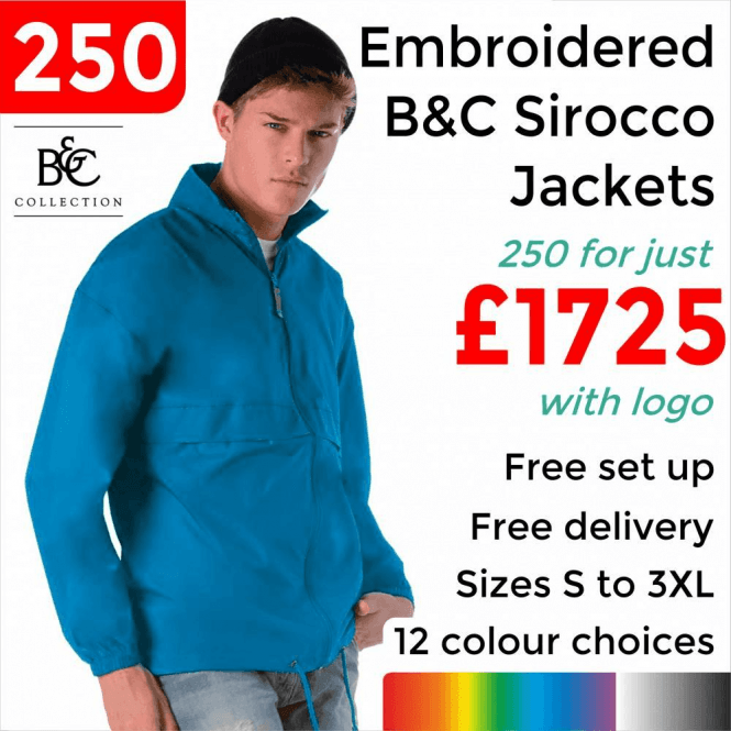 B&C Collection 250 x Embroidered Sirocco Jacket £1725
