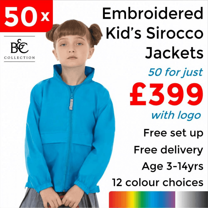 B&C Collection 50 x Embroidered Kid's Sirocco Jacket £399