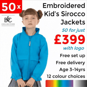 50 x Embroidered Kid's Sirocco Jacket £399