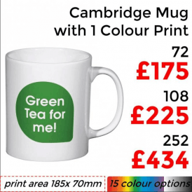 Cambridge Earthenware Mug With Single Colour Print
