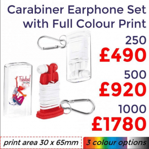 Carabiner Earphone Set With Full Colour Print