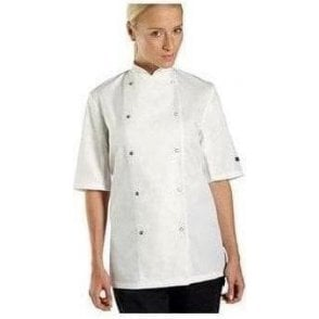 Chef jacket short sleeve press stud