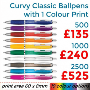 Curvy Ballpen With Single Colour Print