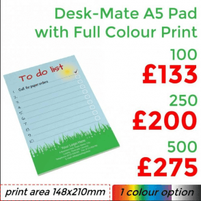 Desk-Mate® Pad A5 With Full Colour Print
