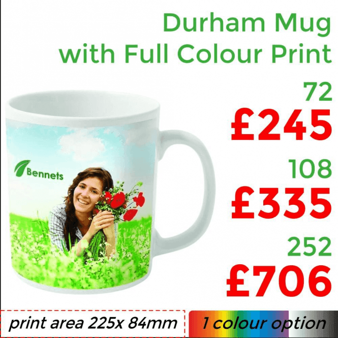 Durham Dye Sublimation Mug With Full Colour Print
