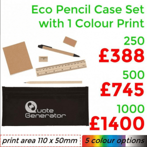 Eco Pencil Case Set With Single Colour Print